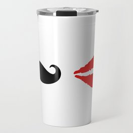 She & He: lips ad moustache Travel Mug