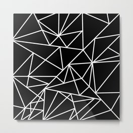 Modern abstract black white geometric pattern Metal Print