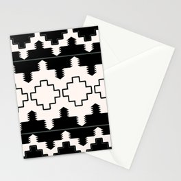 Rustic Native Indian black and white pattern Stationery Cards
