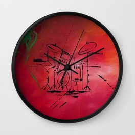 Music, Drummer, Drums, Orignal Artwork By Jodi Tomer. Rock and Roll Drums Wall Clock