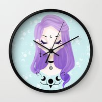 pastel goth Wall Clocks featuring Pastel by Paz Huichaman