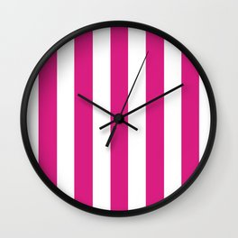 Vivid cerise pink -  solid color - white vertical lines pattern Wall Clock