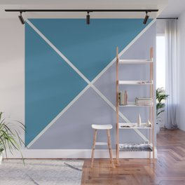 Envelope Geometric Shape Tufts Blue and Ash Gray  Wall Mural