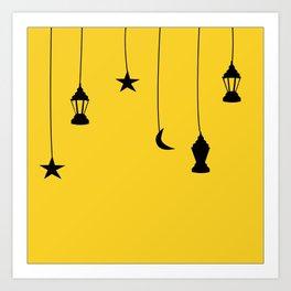 yellow falling star Art Print