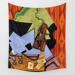 Violin and Playing Cards on a Table Wall Tapestry