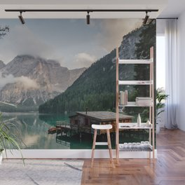 Mountain Lake Cabin Retreat Wall Mural