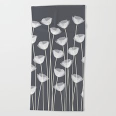 White Poppies Beach Towel