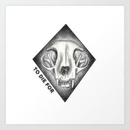 TO DIE FOR Creepy Cat Skull Art Print