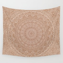 The Most Detailed Intricate Mandala (Brown Tan) Maze Zentangle Hand Drawn Popular Trending Wall Tapestry