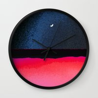 moon phase Wall Clocks featuring New Moon - Phase III by Marina Kanavaki