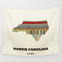north carolina Wall Tapestries featuring North Carolina state map modern by bri.buckley