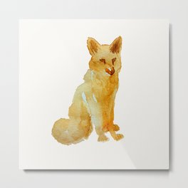 Cute brown orange hand painted watercolor fox Metal Print
