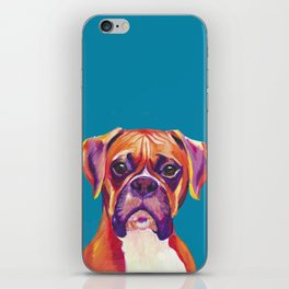 Boxer Face Blue boxer dog breed funny dog animals pets iPhone Skin