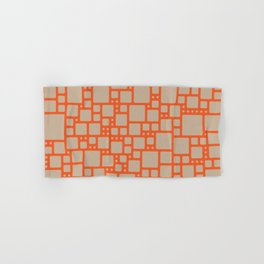 abstract cells pattern in orange and beige Hand & Bath Towel