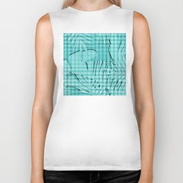 Turquoise Tropical Leaves Plaid Design Biker Tank