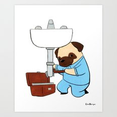 Pug Plumber (Dogs with Jobs series) Art Print