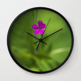 Maiden Pink Wildflower Wall Clock