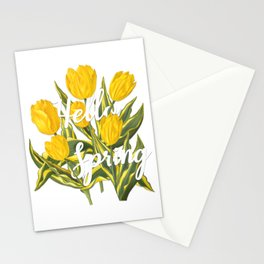 Hello Spring | Yellow tulips Stationery Cards