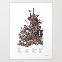 Stump (with labels) Art Print