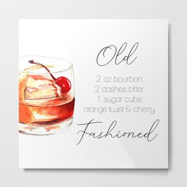 Cocktail Recipe. Old Fashioned. Metal Print