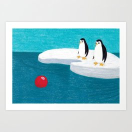 The Adventures of Red Ball - At the South Pole. Art Print