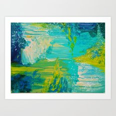 SEASIDE DREAMS - Beautiful Ocean Waves Teal Blue Turquoise Chartreuse Underwater Abstract Painting Art Print