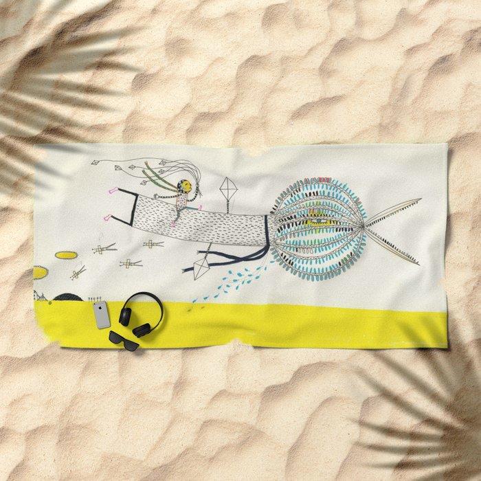 Tree Bird Beach Towel