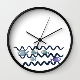 Against the Current - Maritime Simple Fish Design Wall Clock