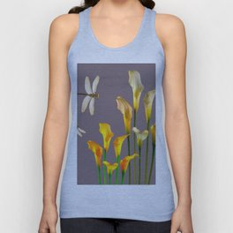GOLD CALLA LILIES & DRAGONFLIES ON GREY Unisex Tank Top
