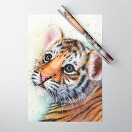 Tiger Cub Watercolor Wrapping Paper