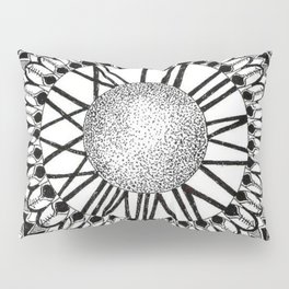 Time and Space Zoomed in Black, Grey, and White Mandala Pillow Sham