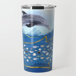 Dolphins Hunting Fish - Surreal Seascape Travel Mug