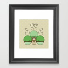 Cute Monster With Green And Yellow Frosted Cupcakes Framed Art Print