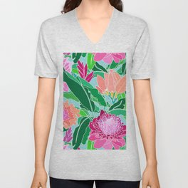 Bird of Paradise + Ginger Tropical Floral in Blue Unisex V-Neck