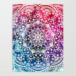 Namaste Red Purple Blue Mandala Poster