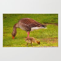 ryan gosling Area & Throw Rugs featuring Mother Goose and Gosling by GardenGnomePhotography