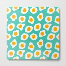 Eggs Pattern (Turquoise Color Background) Metal Print