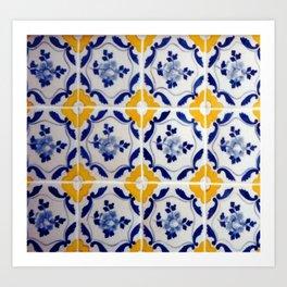 Blue and yellow tile Art Print