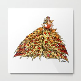 Pizza Peacock Mermaid Dress Metal Print