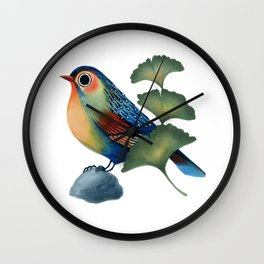 Ginkgo Bird Wall Clock