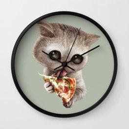 CAT LOVES PIZZA Wall Clock