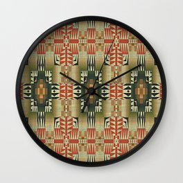 Orange Red Olive Green Native American Indian Mosaic Pattern Wall Clock