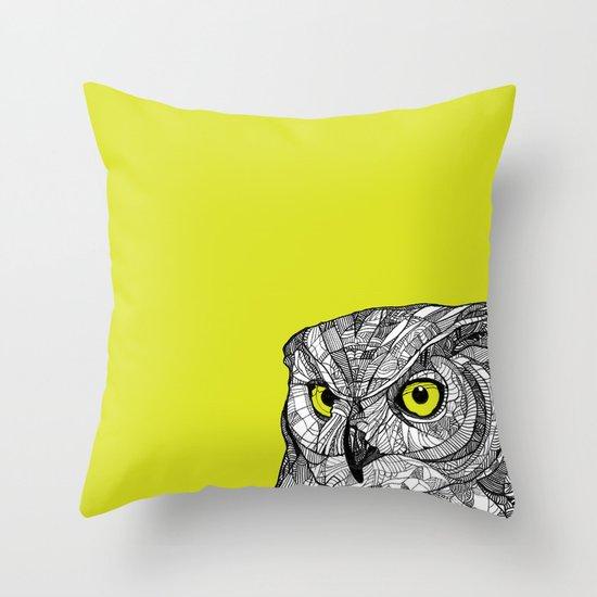Green Eyed Owl Throw Pillow