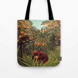 Apes in the Orange Grove by Henri Rousseau 1910 // Colorful Jungle Animal Landscape Scene Tote Bag