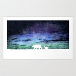 Aurora borealis and polar bears (white version) Art Print