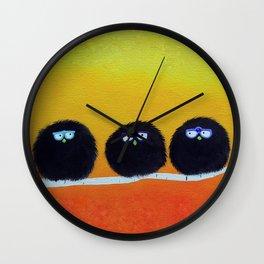 Fluffy Fat Birds - Sweetness on a Branch Wall Clock