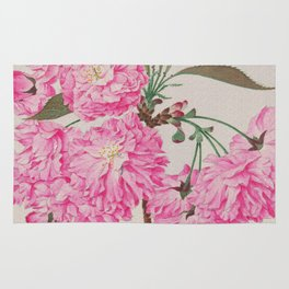 Barrier Mountain Cherry Blossoms Watercolor Rug