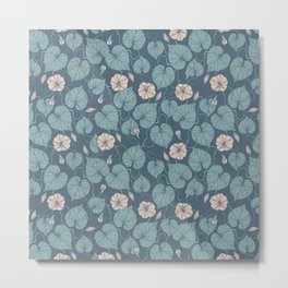 Dark Green Flowers Metal Print