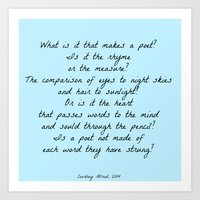 poetry Art Prints featuring Poetry by ChasingStars