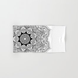 paisley black and white hippie boho mandala Hand & Bath Towel